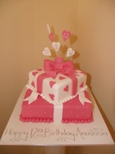 Pink 2 tier Present cake